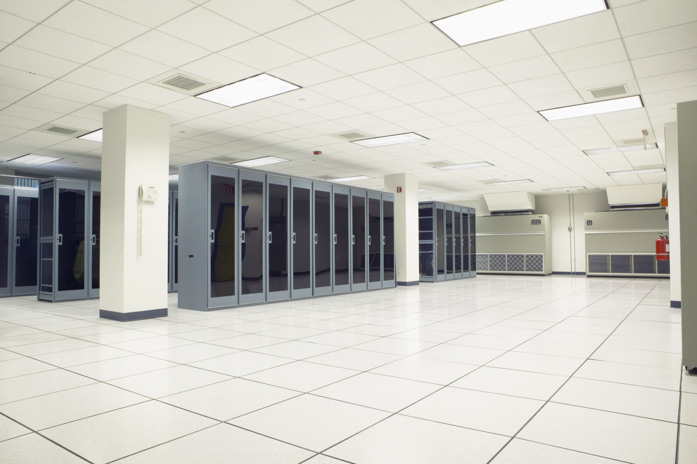 Cabinets in an Empty Server Room